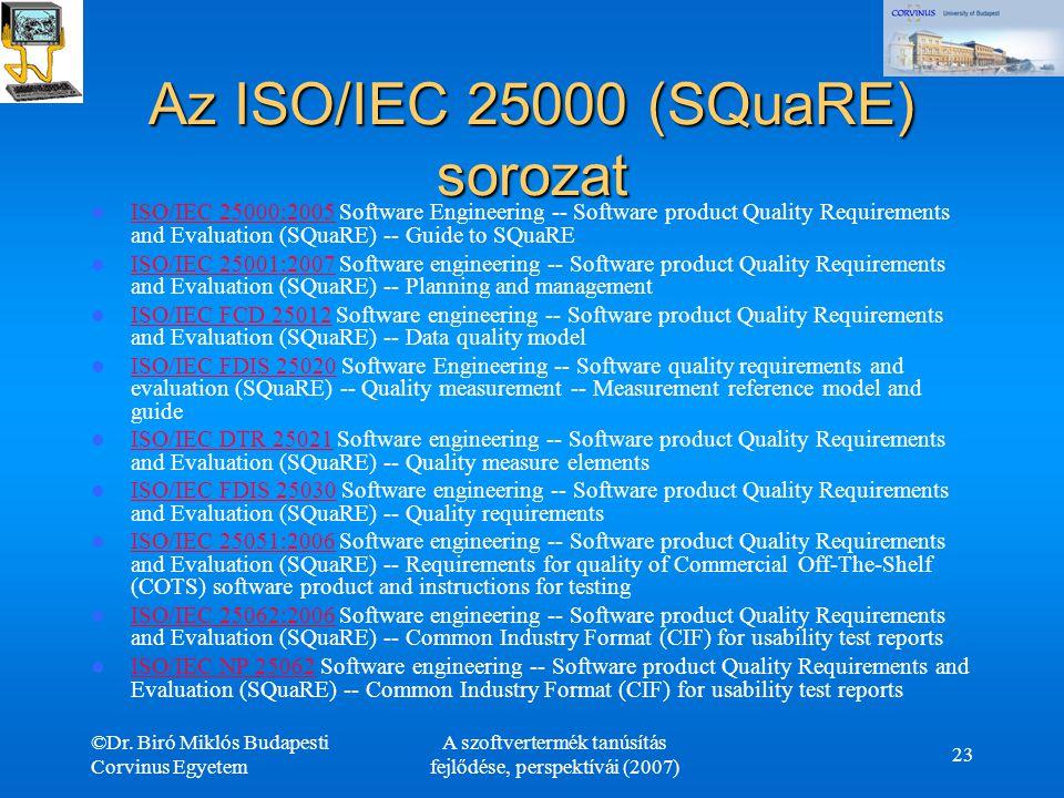 Az ISO/IEC 25000 (SQuaRE) sorozat