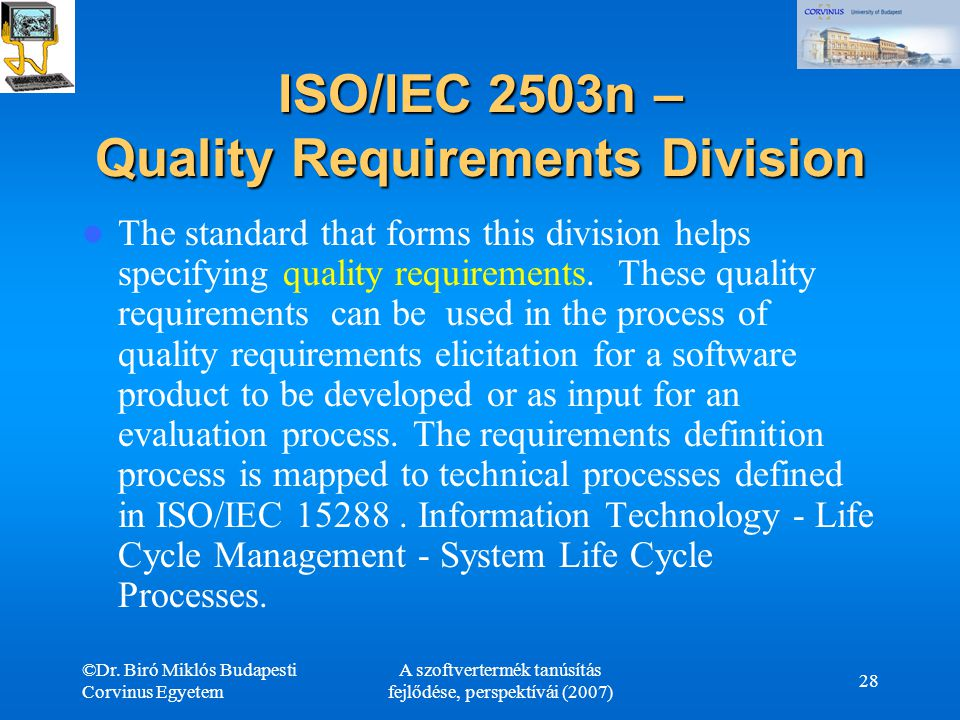 ISO/IEC 2503n – Quality Requirements Division