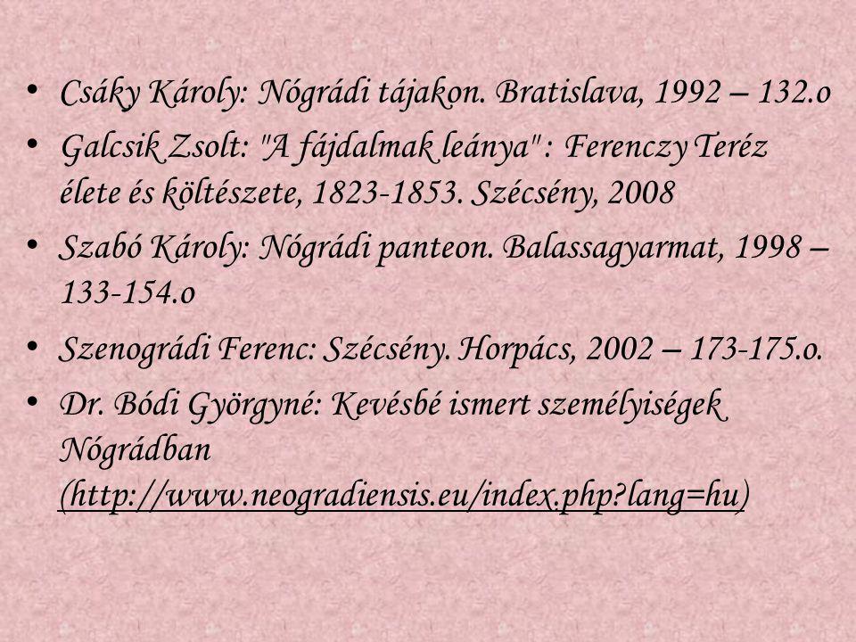 Csáky Károly: Nógrádi tájakon. Bratislava, 1992 – 132.o