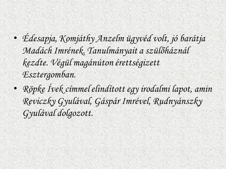 Édesapja, Komjáthy Anzelm ügyvéd volt, jó barátja Madách Imrének
