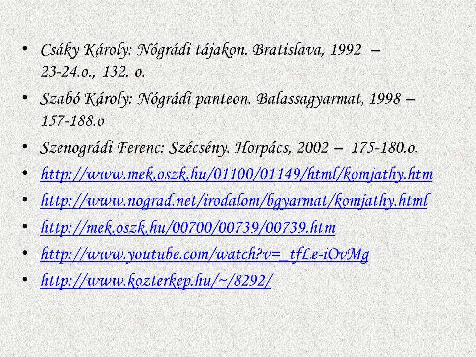 Csáky Károly: Nógrádi tájakon. Bratislava, 1992 – 23-24.o., 132. o.