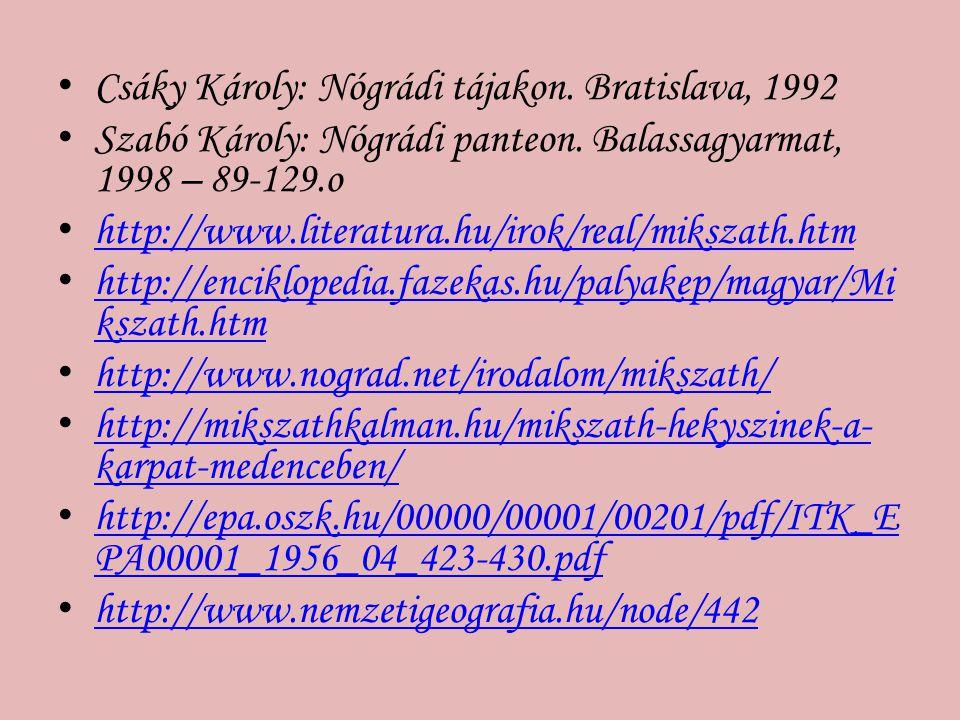 Csáky Károly: Nógrádi tájakon. Bratislava, 1992