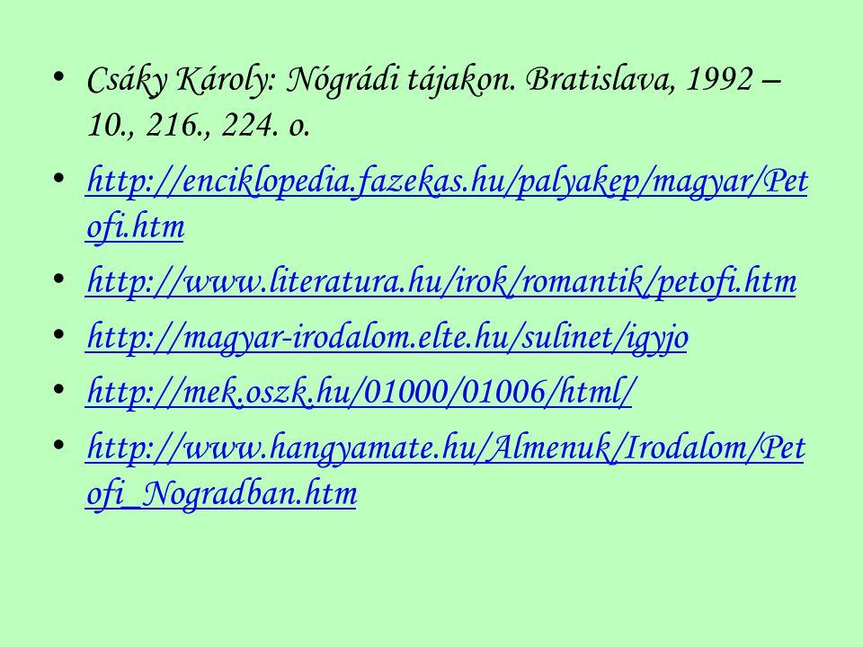 Csáky Károly: Nógrádi tájakon. Bratislava, 1992 – 10., 216., 224. o.