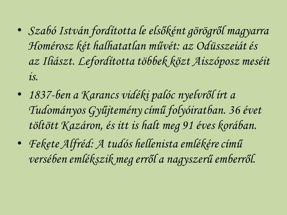 Szabó István fordította le elsőként görögről magyarra Homérosz két halhatatlan művét: az Odüsszeiát és az Iliászt. Lefordította többek közt Aiszóposz meséit is.