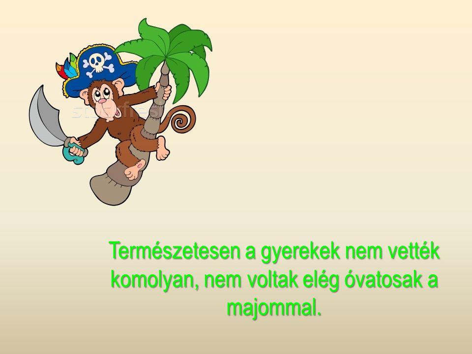 Természetesen a gyerekek nem vették komolyan, nem voltak elég óvatosak a majommal.