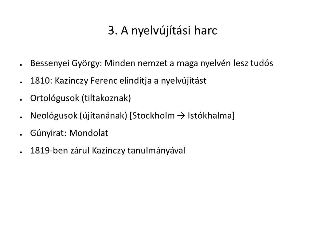 3. A nyelvújítási harc Bessenyei György: Minden nemzet a maga nyelvén lesz tudós. 1810: Kazinczy Ferenc elindítja a nyelvújítást.