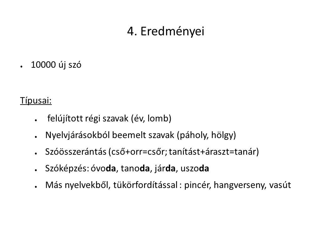 4. Eredményei 10000 új szó Típusai: felújított régi szavak (év, lomb)