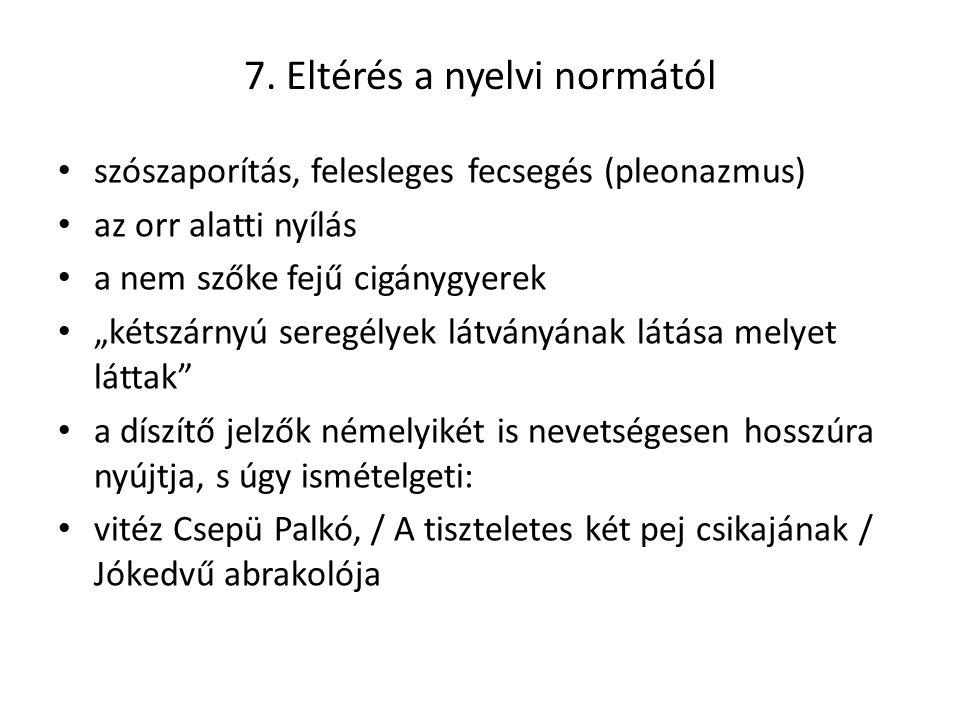 7. Eltérés a nyelvi normától