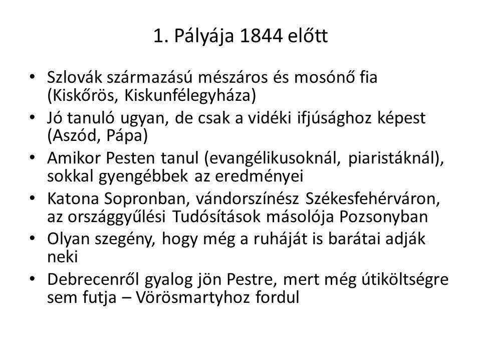 1. Pályája 1844 előtt Szlovák származású mészáros és mosónő fia (Kiskőrös, Kiskunfélegyháza)