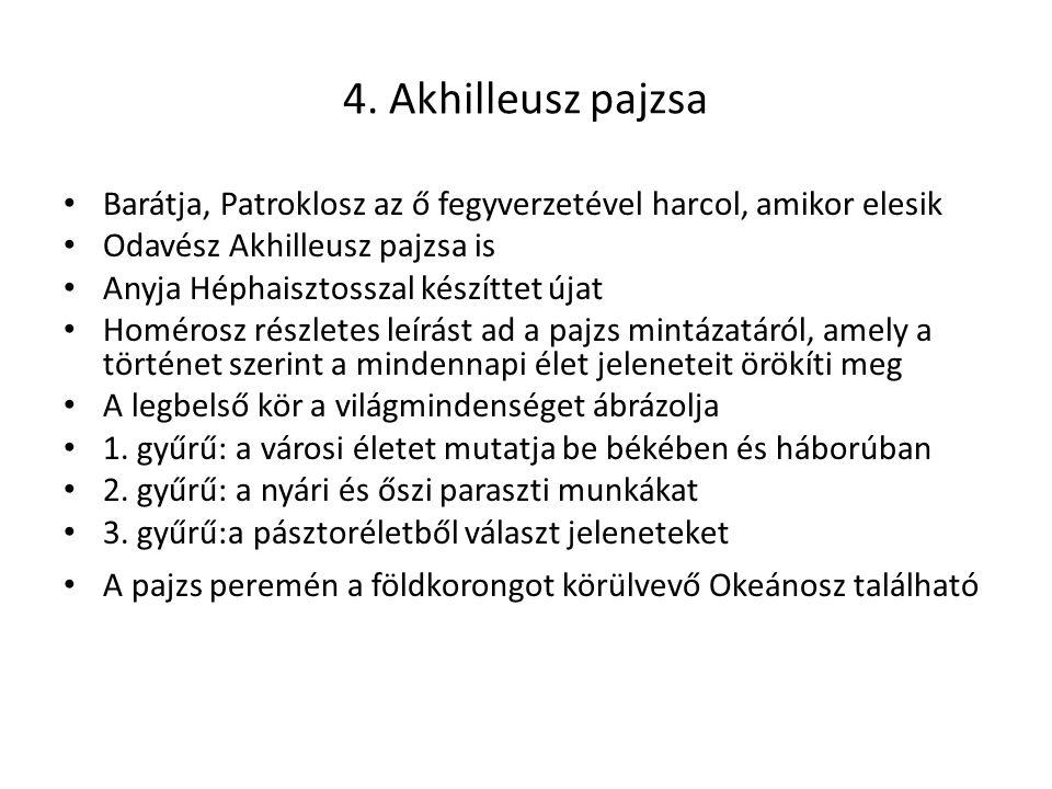4. Akhilleusz pajzsa Barátja, Patroklosz az ő fegyverzetével harcol, amikor elesik. Odavész Akhilleusz pajzsa is.