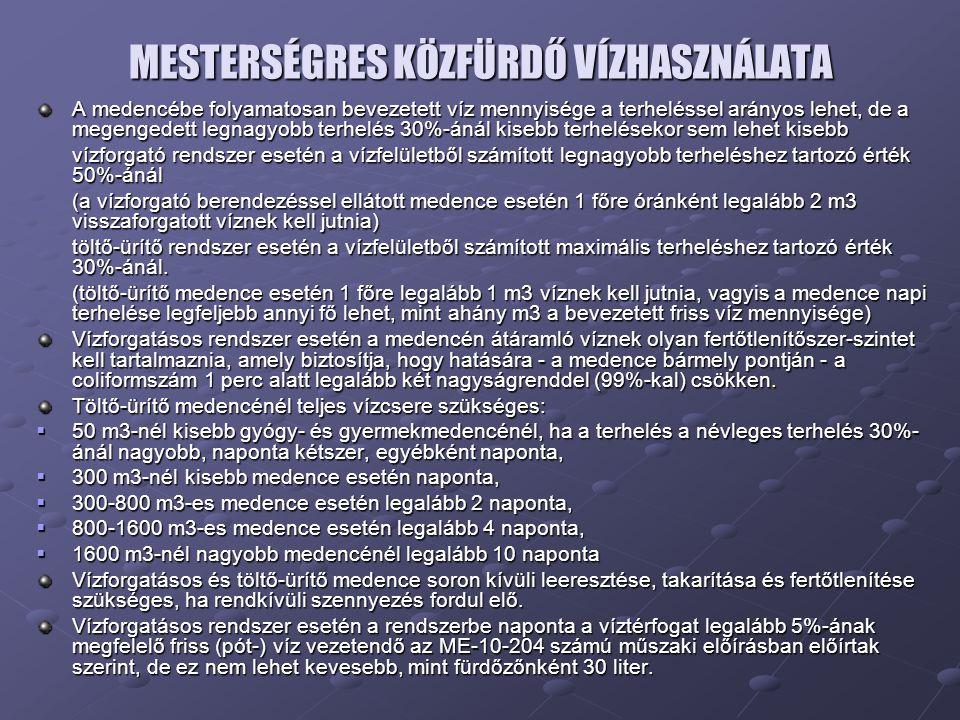 MESTERSÉGRES KÖZFÜRDŐ VÍZHASZNÁLATA
