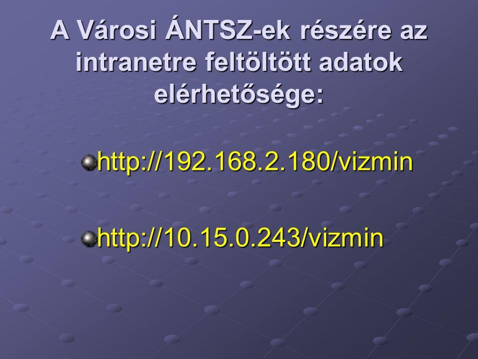 A Városi ÁNTSZ-ek részére az intranetre feltöltött adatok elérhetősége: