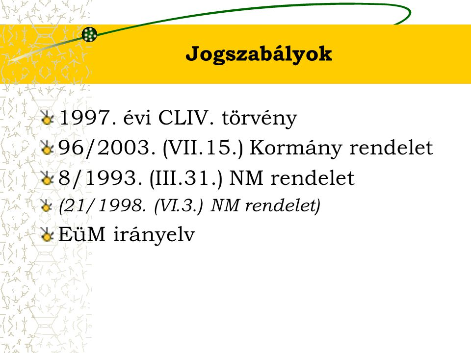 96/2003. (VII.15.) Kormány rendelet 8/1993. (III.31.) NM rendelet