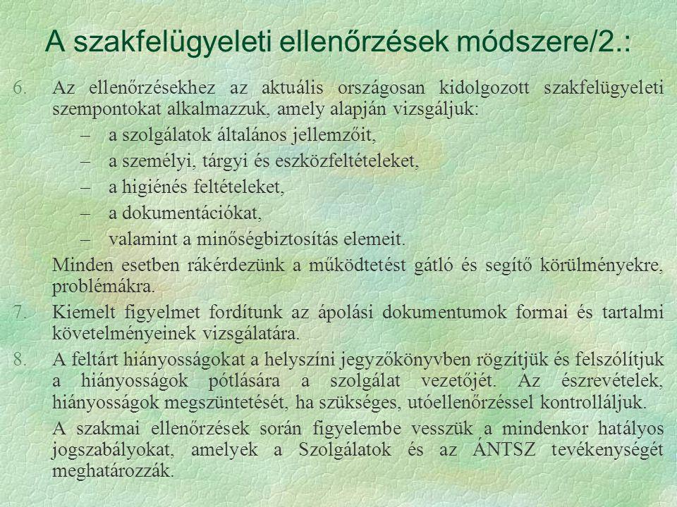 A szakfelügyeleti ellenőrzések módszere/2.: