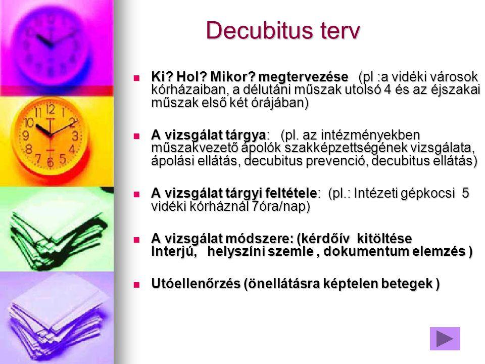 Decubitus terv Ki Hol Mikor megtervezése (pl :a vidéki városok kórházaiban, a délutáni műszak utolsó 4 és az éjszakai műszak első két órájában)