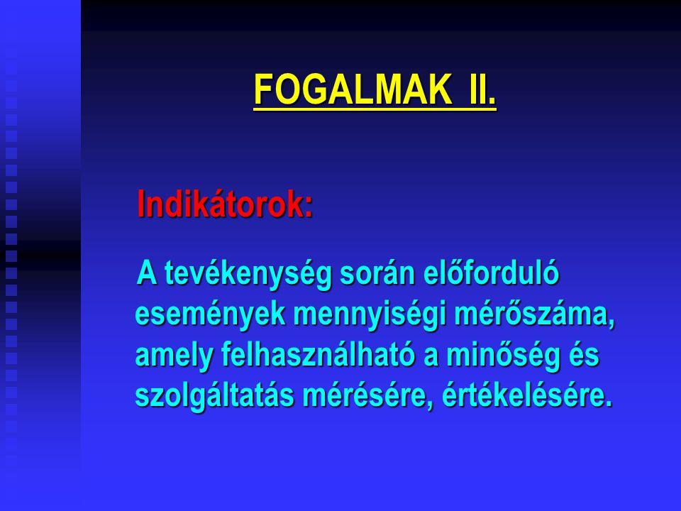FOGALMAK II. Indikátorok: