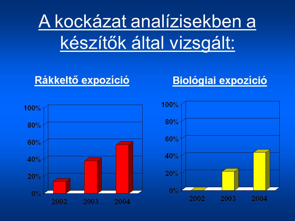 A kockázat analízisekben a készítők által vizsgált: