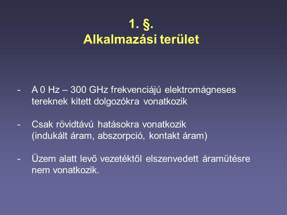 §. Alkalmazási terület. A 0 Hz – 300 GHz frekvenciájú elektromágneses tereknek kitett dolgozókra vonatkozik.