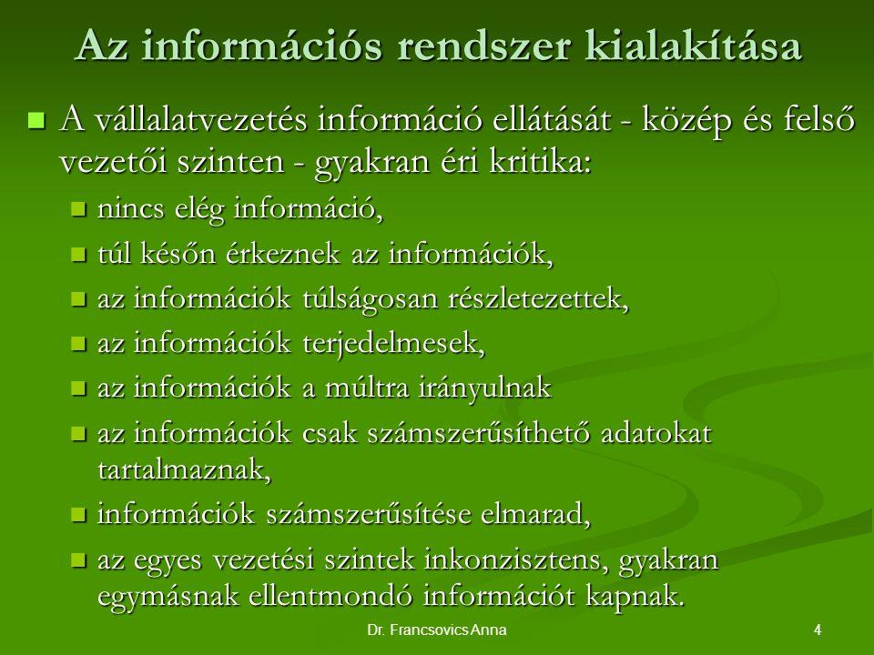 Az információs rendszer kialakítása