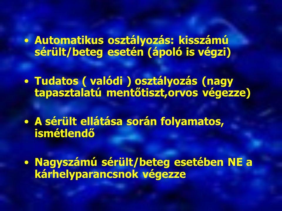 Automatikus osztályozás: kisszámú sérült/beteg esetén (ápoló is végzi)