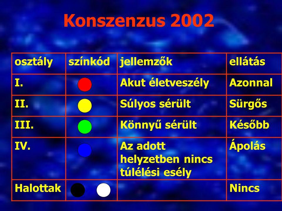 Konszenzus 2002 osztály színkód jellemzők ellátás I. Akut életveszély