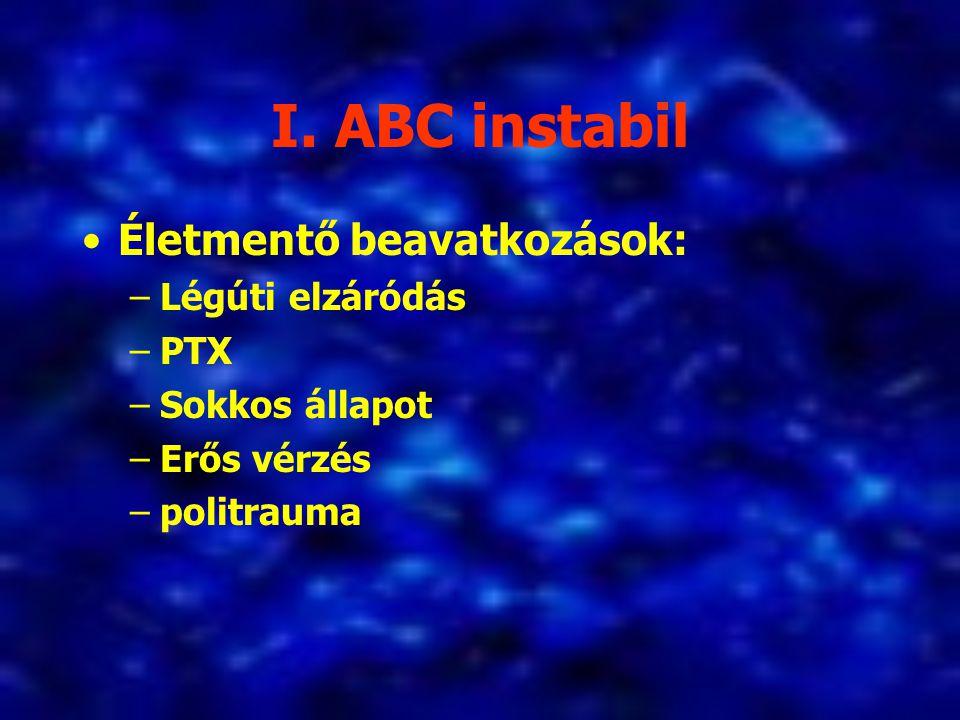 I. ABC instabil Életmentő beavatkozások: Légúti elzáródás PTX