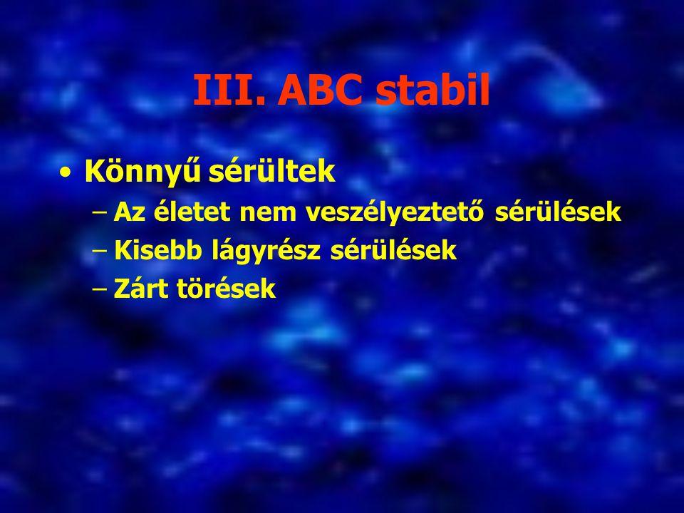 III. ABC stabil Könnyű sérültek Az életet nem veszélyeztető sérülések