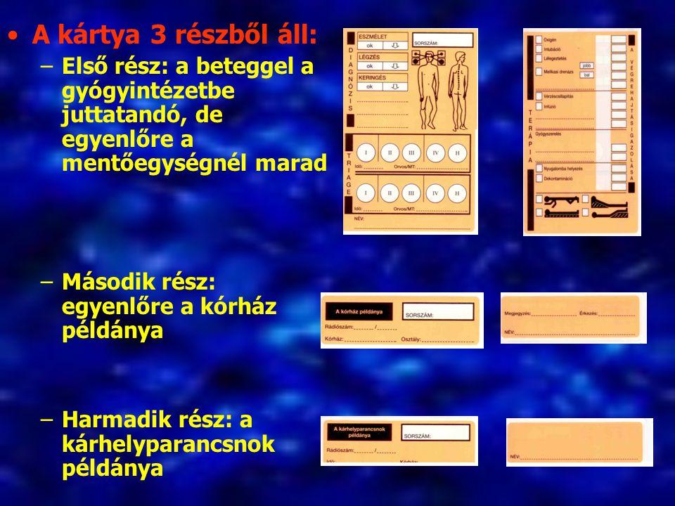 A kártya 3 részből áll: Első rész: a beteggel a gyógyintézetbe juttatandó, de egyenlőre a mentőegységnél marad.
