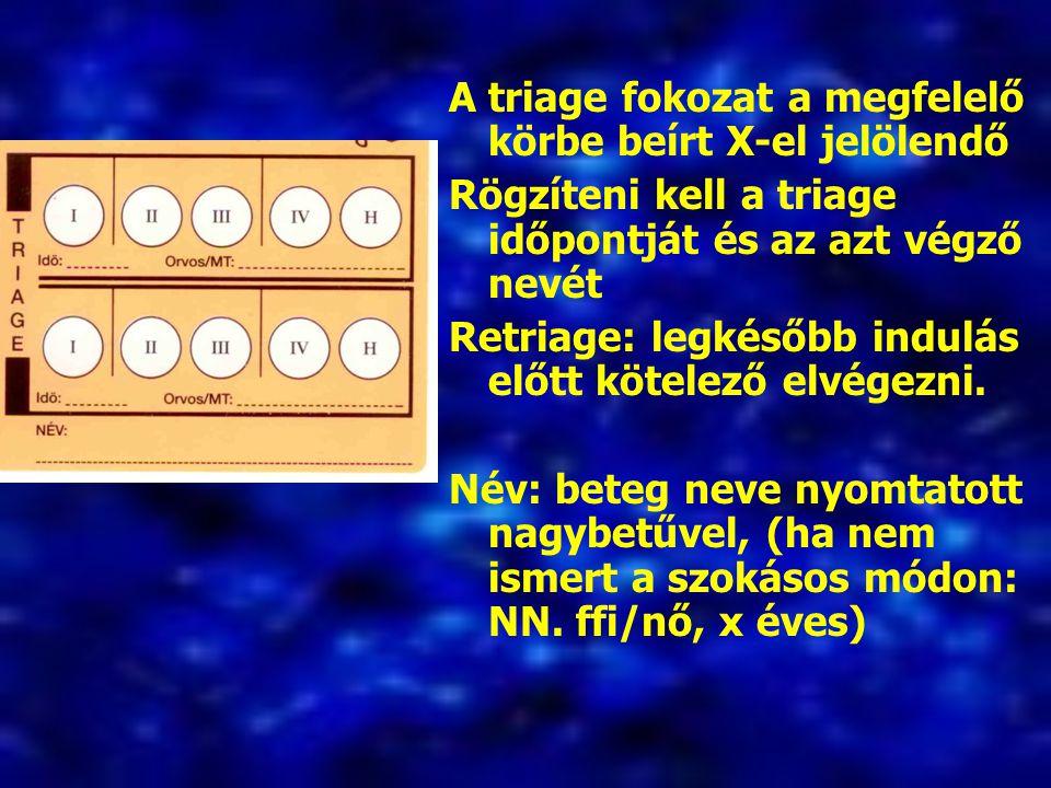 A triage fokozat a megfelelő körbe beírt X-el jelölendő