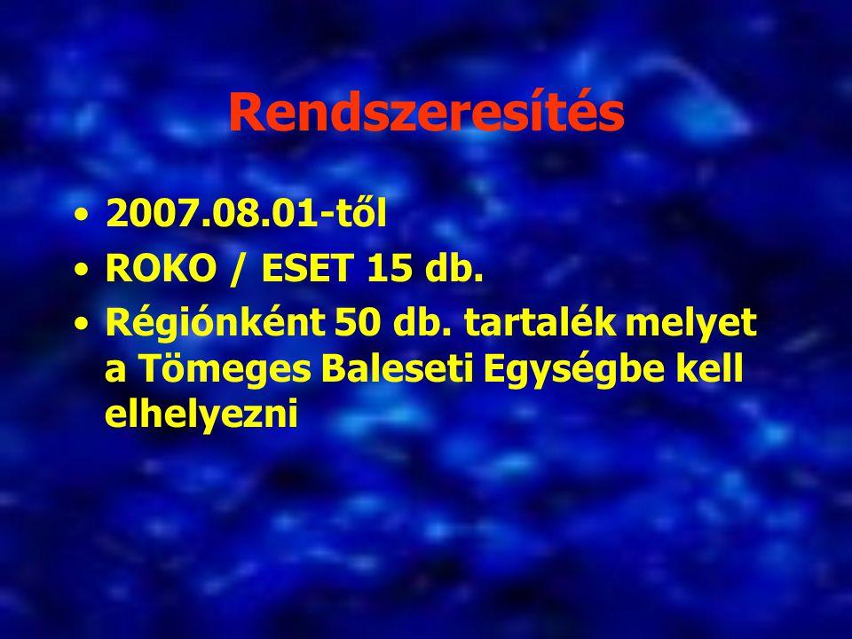 Rendszeresítés 2007.08.01-től ROKO / ESET 15 db.