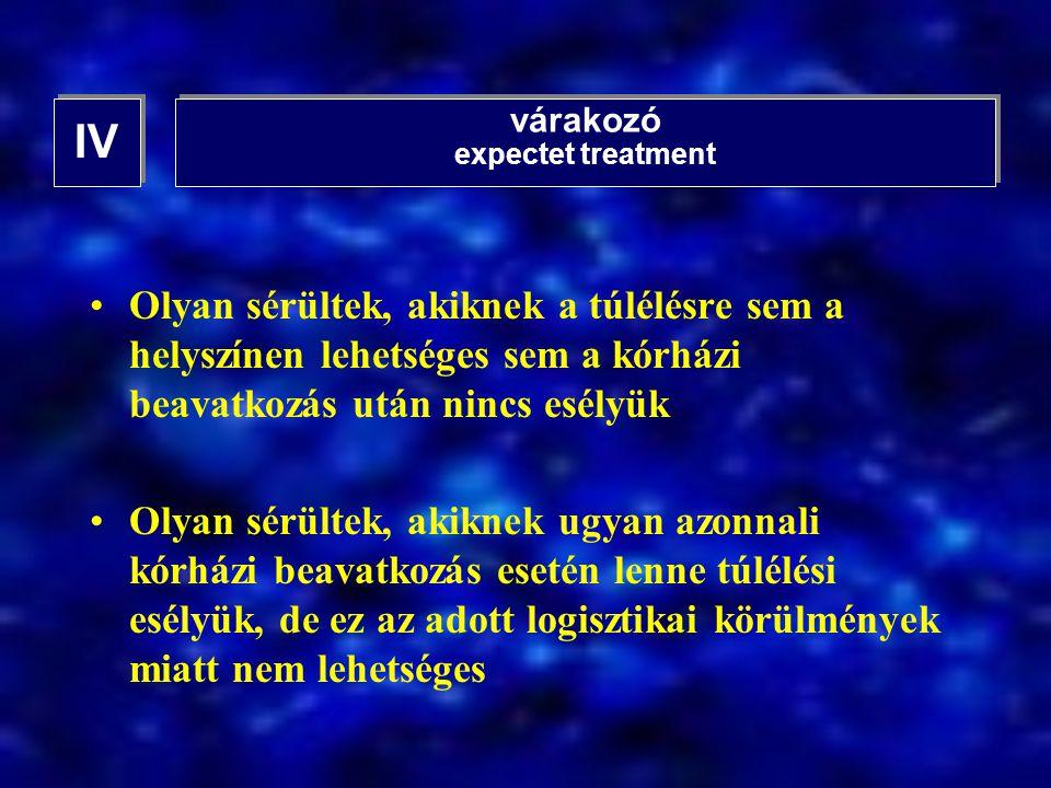 IV várakozó. expectet treatment. Olyan sérültek, akiknek a túlélésre sem a helyszínen lehetséges sem a kórházi beavatkozás után nincs esélyük.