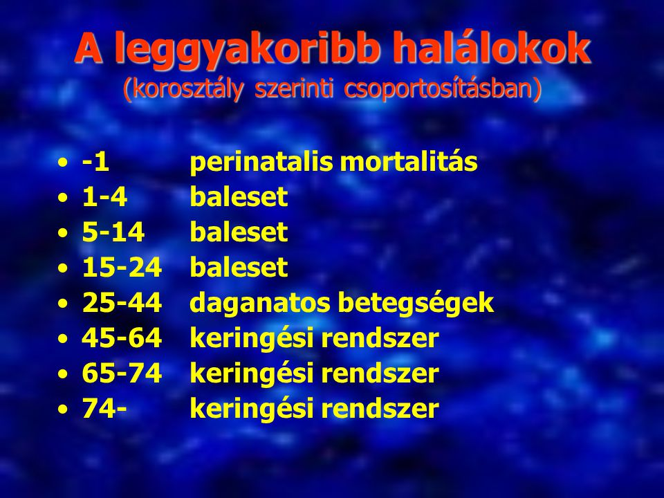 A leggyakoribb halálokok (korosztály szerinti csoportosításban)