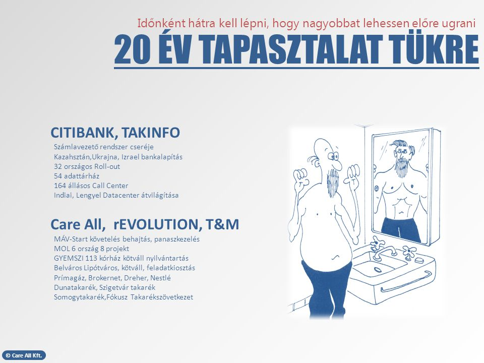 20 ÉV TAPASZTALAT TÜKRE CITIBANK, TAKINFO Care All, rEVOLUTION, T&M
