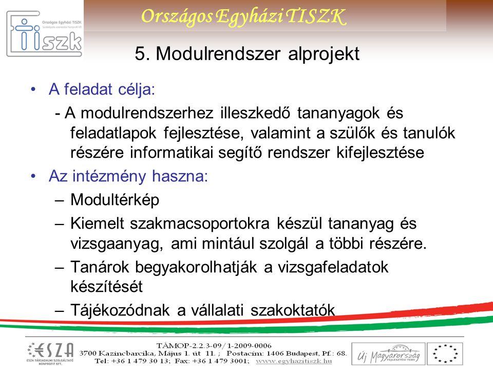 5. Modulrendszer alprojekt