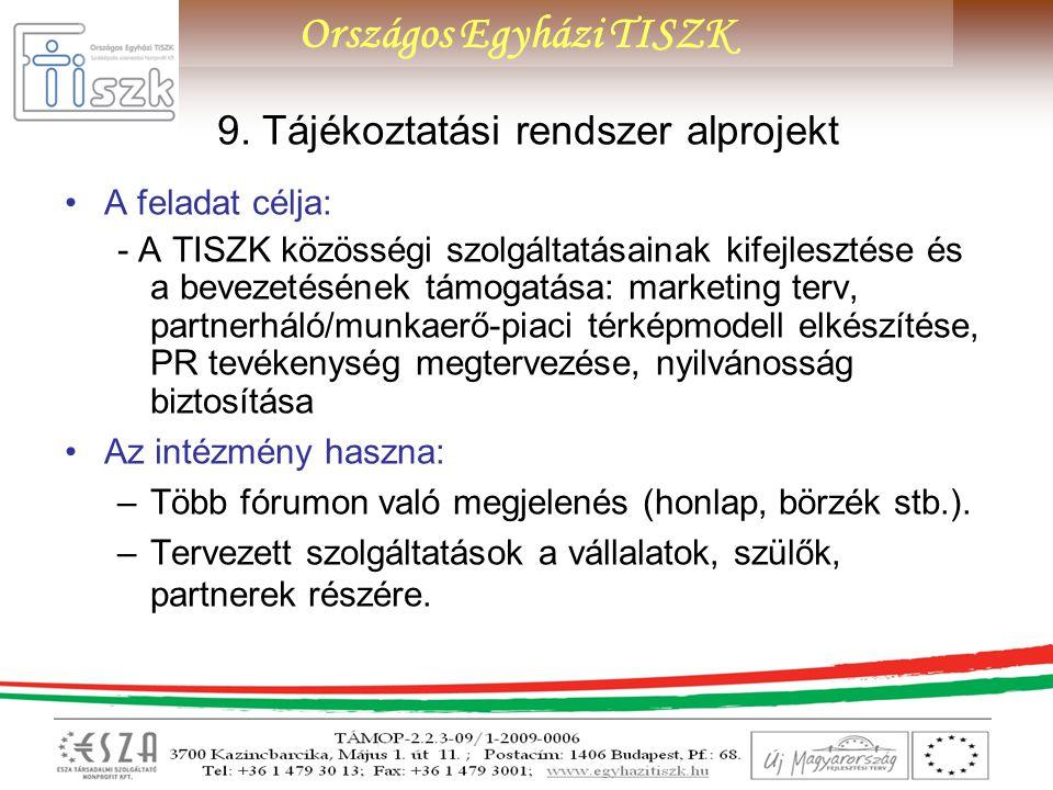 9. Tájékoztatási rendszer alprojekt