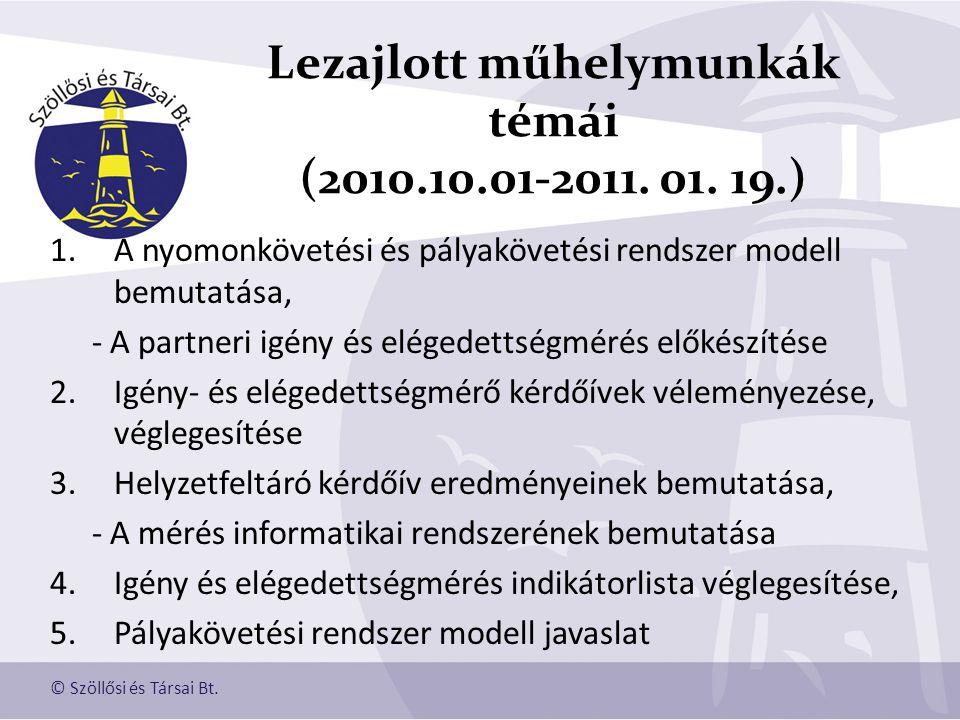 Lezajlott műhelymunkák témái (2010.10.01-2011. 01. 19.)