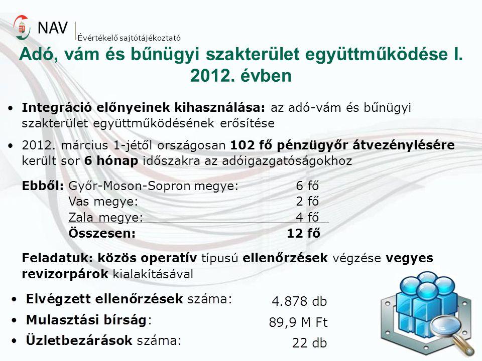 Adó, vám és bűnügyi szakterület együttműködése I. 2012. évben