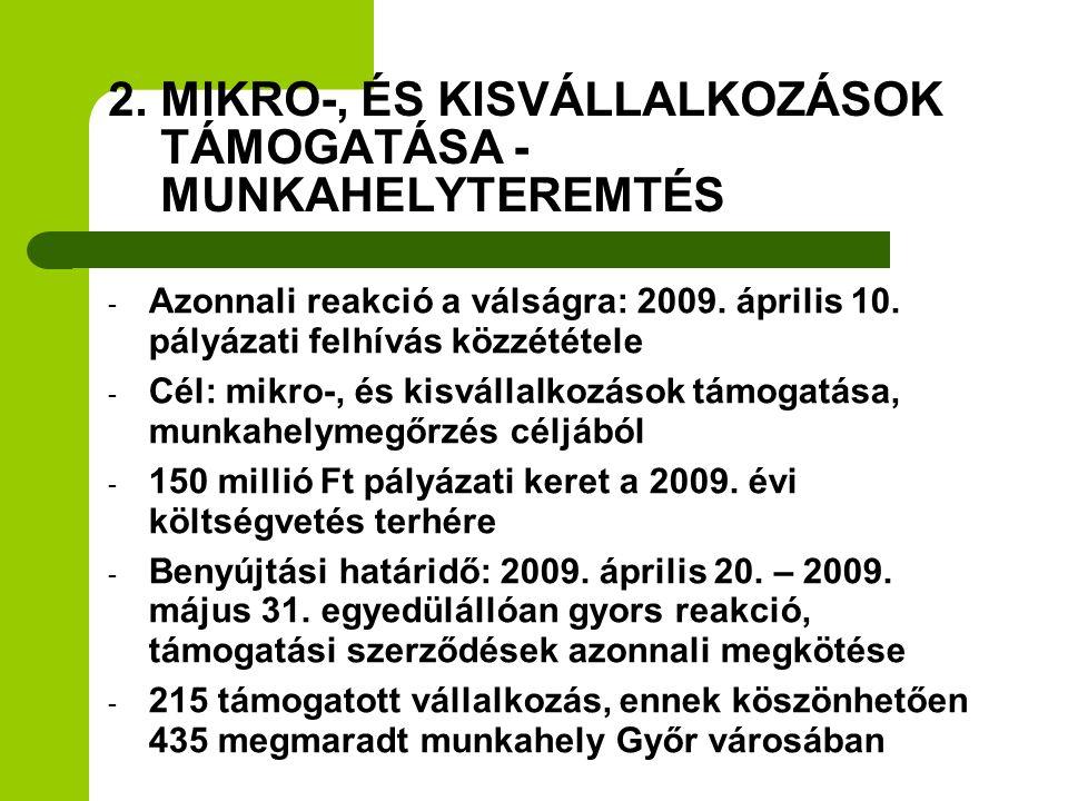 2. MIKRO-, ÉS KISVÁLLALKOZÁSOK TÁMOGATÁSA - MUNKAHELYTEREMTÉS