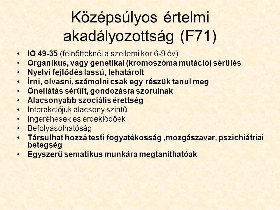 Középsúlyos értelmi akadályozottság (F71)