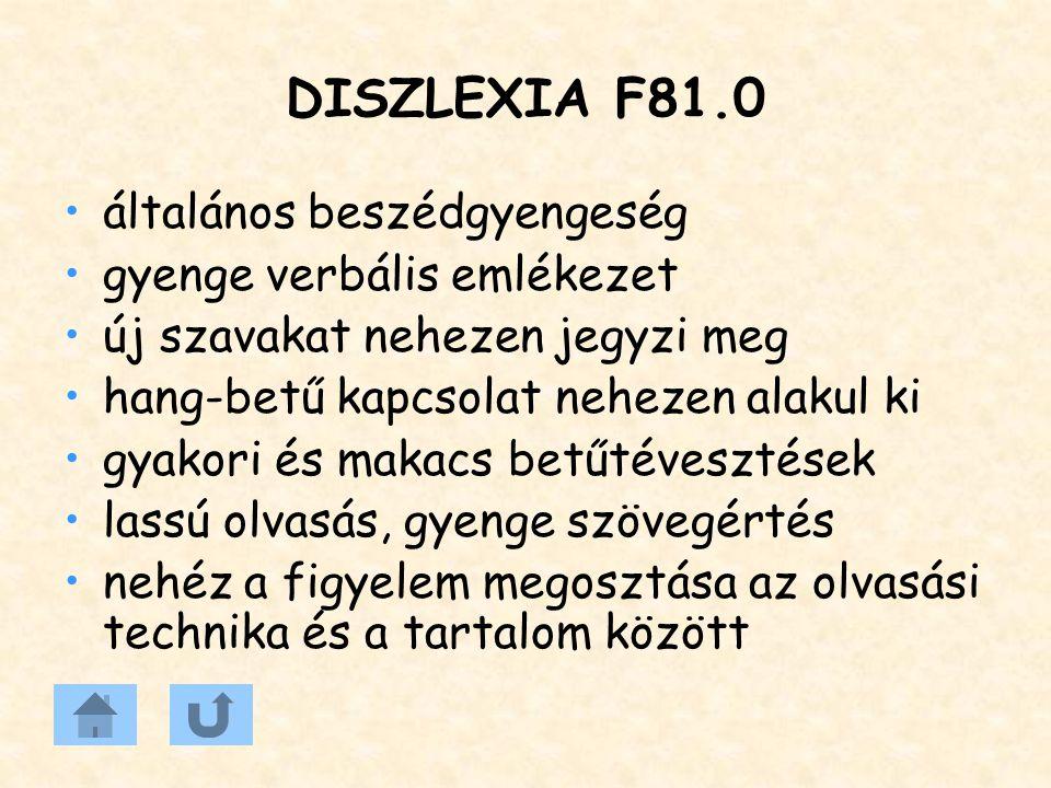 DISZLEXIA F81.0 általános beszédgyengeség gyenge verbális emlékezet