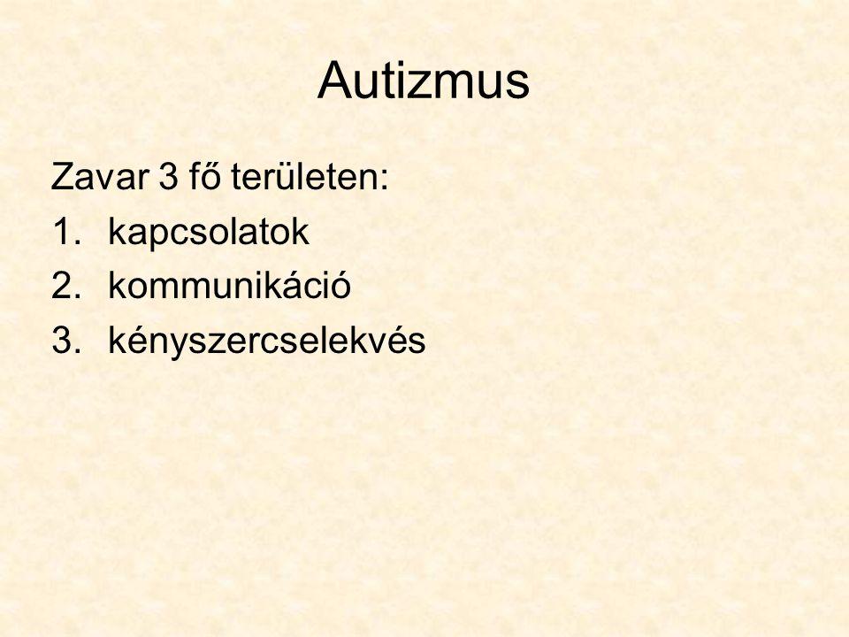 Autizmus Zavar 3 fő területen: kapcsolatok kommunikáció