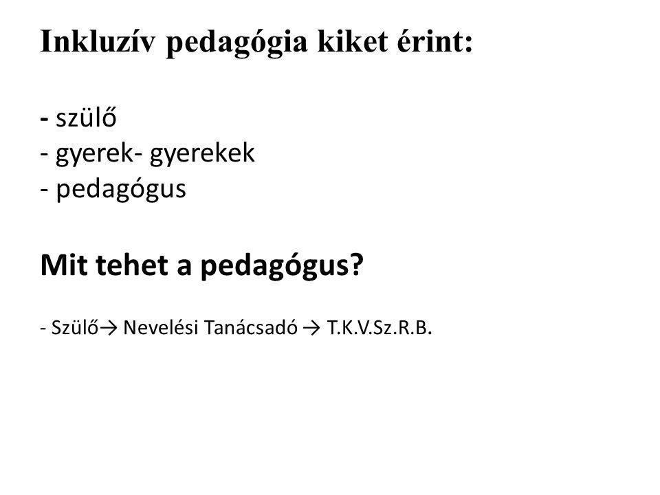 Inkluzív pedagógia kiket érint: - szülő - gyerek- gyerekek - pedagógus Mit tehet a pedagógus.
