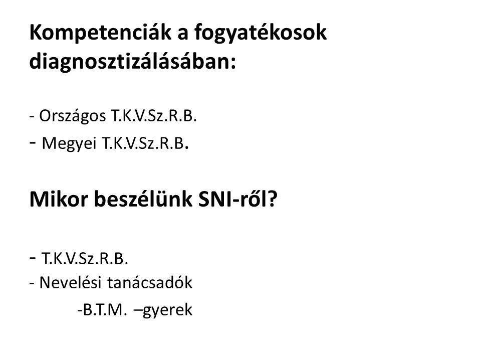Kompetenciák a fogyatékosok diagnosztizálásában: - Országos T.K.V.Sz.R.B.