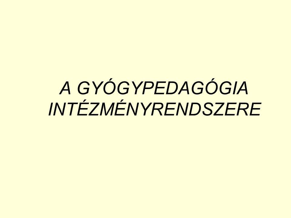 A GYÓGYPEDAGÓGIA INTÉZMÉNYRENDSZERE