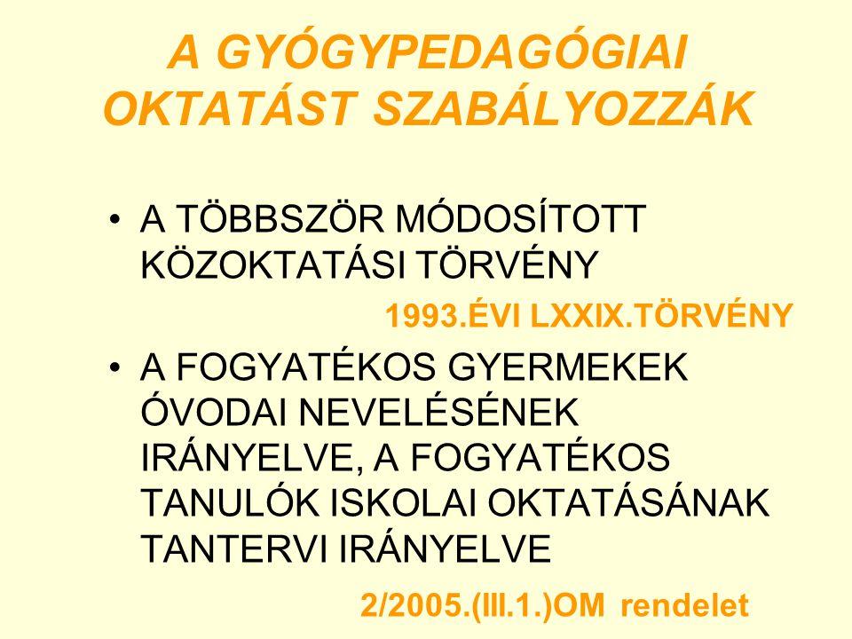 A GYÓGYPEDAGÓGIAI OKTATÁST SZABÁLYOZZÁK