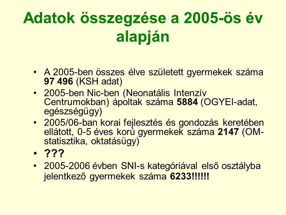 Adatok összegzése a 2005-ös év alapján