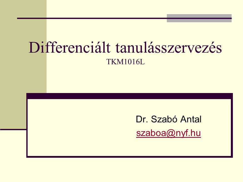 Differenciált tanulásszervezés TKM1016L