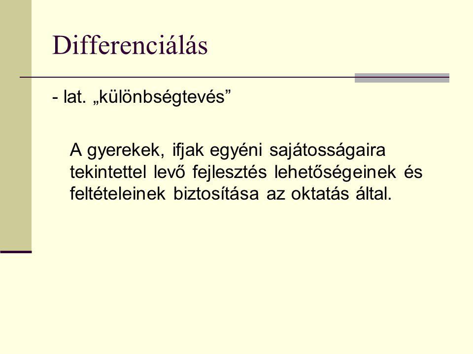 """Differenciálás - lat. """"különbségtevés"""