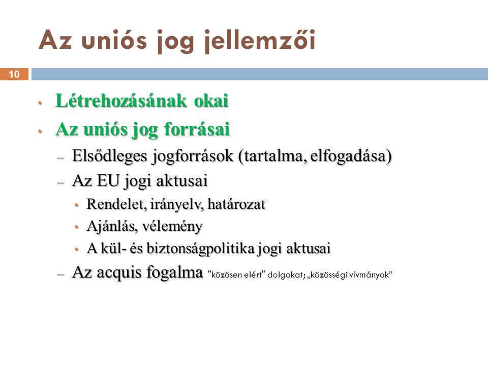 Az uniós jog jellemzői Létrehozásának okai Az uniós jog forrásai