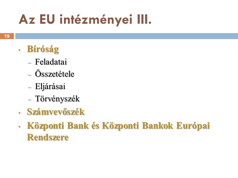 Az EU intézményei III. Bíróság Számvevőszék